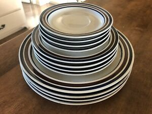 12pc-Set-Flair-National-Silver-Blue-Brown-Stoneware-Dinner-Salad-Saucer-Plates