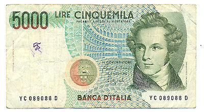 Italien 5000 Lire 1985 World Paper Money 111a kl. Fleck gebr.