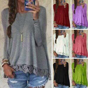 Mode-Femme-Casuel-en-vrac-Dentelle-Couture-Manche-Longue-Col-Rond-Haut-Shirt