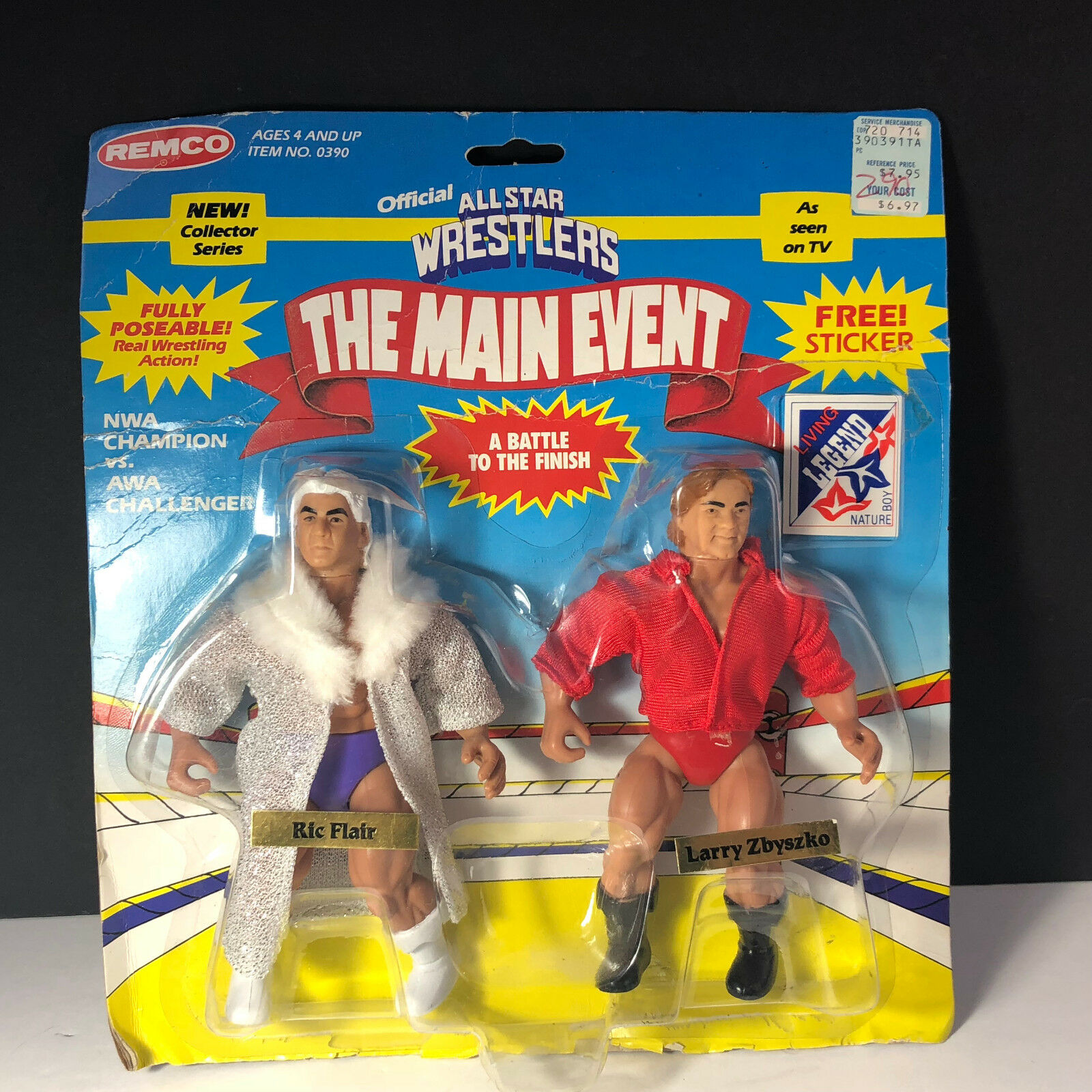 1985 REMCO AWA WRESTLING ACTION FIGURE MOC NATURE BOY RIC FLAIR LARRY ZBYSKO WWE