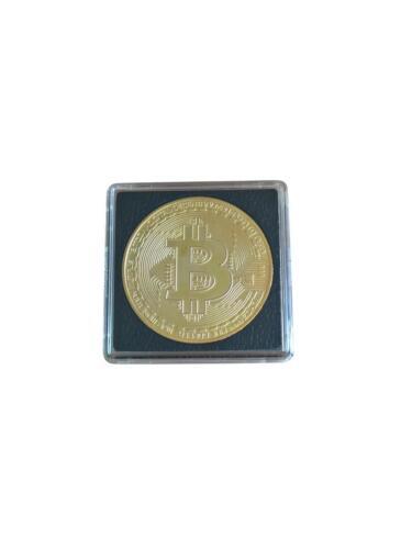 """Medaille Aufkleber Münze /""""bitcoin Logo/"""" 40mm vergoldet Geschenkidee *NEU"""
