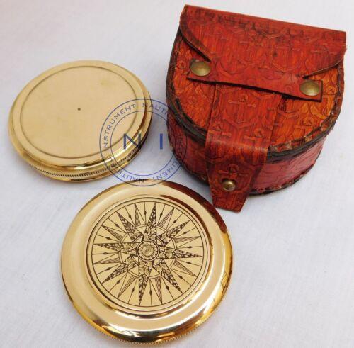 Maritime Brass Compass Robert Frost Poem in Designer Brass Work Leather Case
