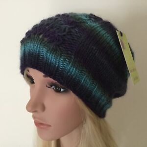 HAND-KNITTED-LADIES-EUROPEAN-WOOL-WITH-LACE-PANEL-BEANIE-HAT-SIZE-S-M