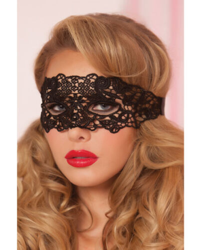LACE EYE MASK WITH SATIN RIBBON TIES BLACK OR RED