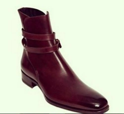 MEN HANDMADE GENUINE LEATHER SHOES BURGUNDY ANKLE HIGH JODHPUR CASUAL BOOTS