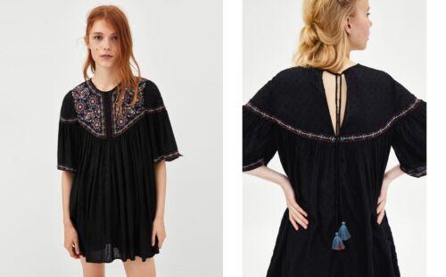 Zara Plumetis OVERALL ABITO RICAMO Jumpsuit Dress embroidered Boho