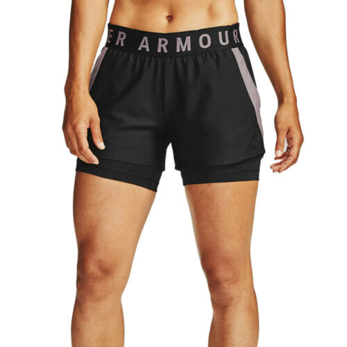Under Armour Womens Play Up 2-In-1 Shorts Pants Trousers Bottoms Black Sports