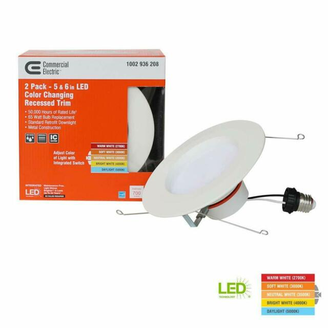 Matte White Integrated LED Recessed Trim 4-Pack 4 in Commercial Electric