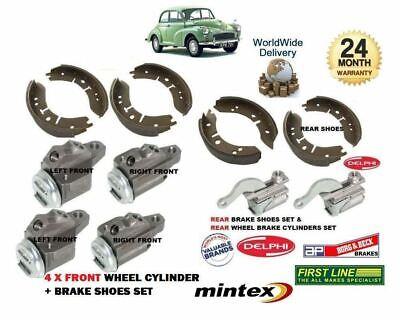 MORRIS MOGGY MINOR 1000 1962-1971 NEW 4x FRONT BRAKE WHEEL CYLINDER /& FRONT SHOE