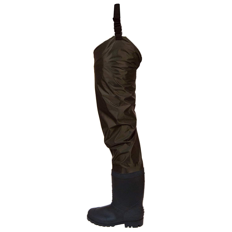 Frogg Toggs Rana II PVC Bootfoot Hip Wader, sz 8,Felt Outsole,brown