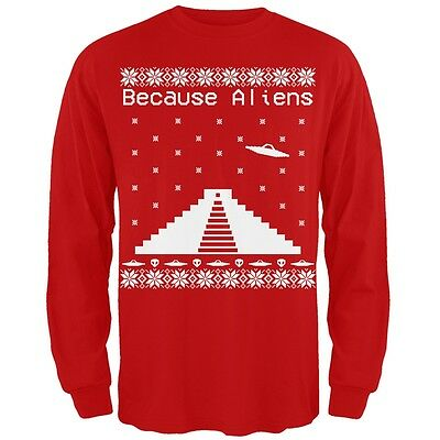 Because Ancient Aliens Pyramid Ugly Christmas Sweater Black Juniors T-Shirt