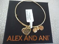 Alex and Ani PATH OF LIFE HEART Shiny Gold Charm Bangle New W/ Tag Card & Box