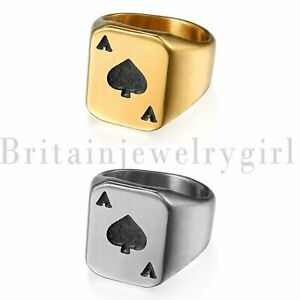 Stainless-Steel-Ace-of-Spades-Poker-Ring-Men-039-s-Wedding-Engagement-Band-Size-7-14