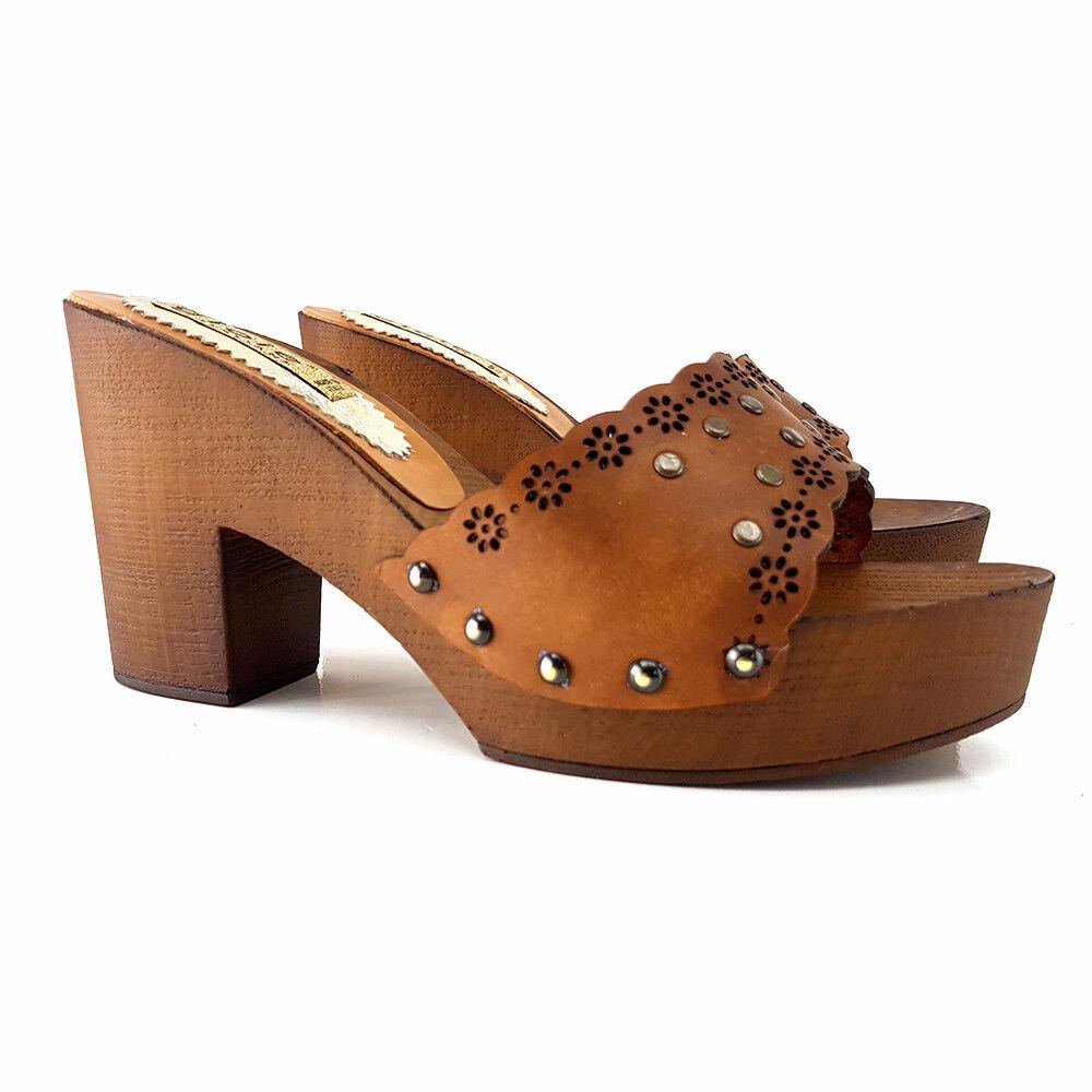 Zoccoli Comodi Cuoio shoes Made in  - Tacco 9 - G5311 CUOIO