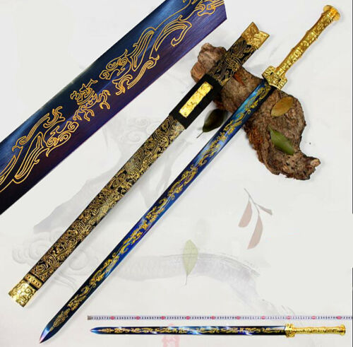 Blue High Manganese Steel Gilt Blade Chinese WuShu Sword Han Dynasty Battle Jian
