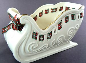 LENOX CHRISTMAS PORCELAIN SLEIGH CANDY DISH NEW IN BOX (A26)