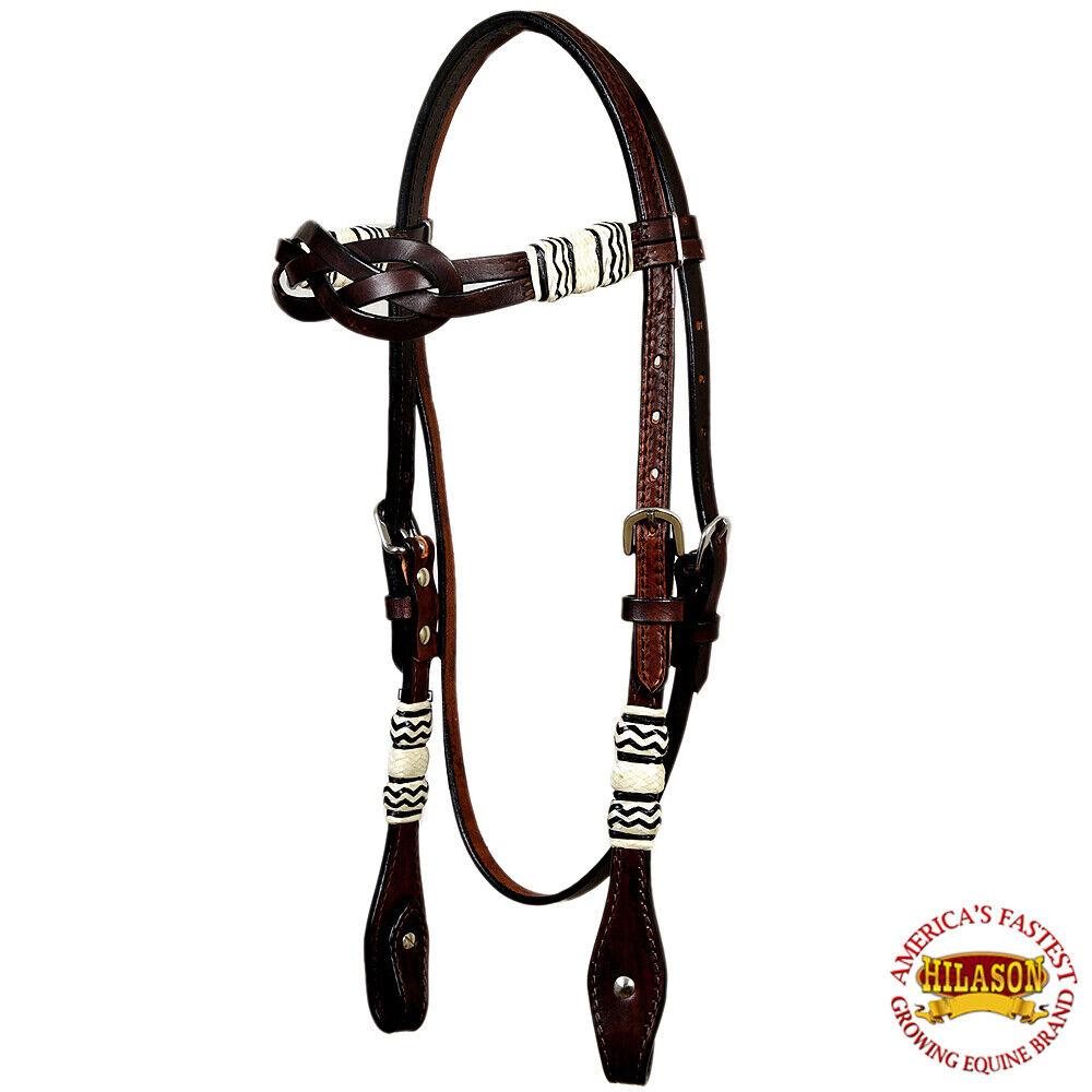 U6HS Hilason Western American Leather Horse Bridle Headstall Marronee Rawhide