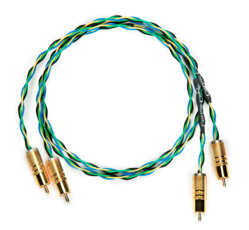 3ft Pair Corpse Cable Earth Rocker RCA to RCA Braided Interconnects 4X19 AWG