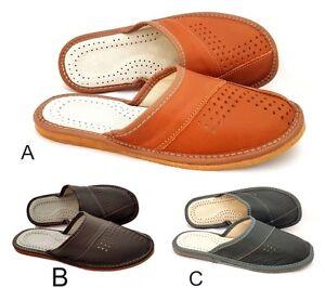 b152Hausschuhe Herren, Pantoffeln, Latschen,Sandaletten , Leder,neu