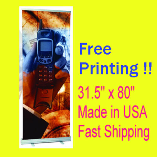 """Signage 31.5/"""" x 80/"""" Retractable Roll Up Display Free Printing /& Shipping USA"""