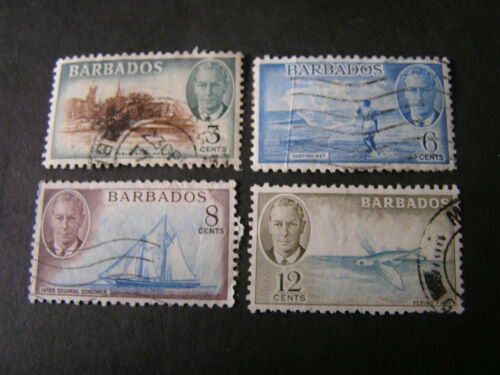 BARBADOS, SCOTT # 218+220-222(3), 3c+6c+8c+12c. VALUES KGV1 DEFINITIVE ISS USED