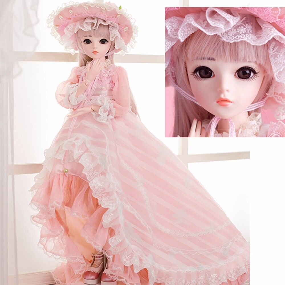60CM BJD Dolls SD Doll With Outfit Elegant Dress Wigs Shose Hat Makeup Beautiful