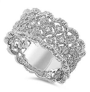 Sterling Silver .925 Womens CZ Vintage Antique Eternity Wedding Band Ring 5-10