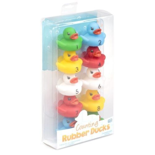 10x Coloured Counting Bath Ducks Set Toy Baby Toddler Bathtime Play Rubber Duck