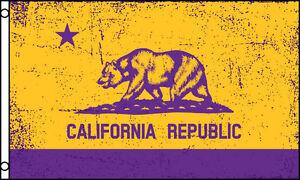 purple gold california state flag 3x5 ft republic bear lakers