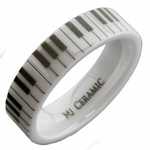 White Ceramic Piano Keyboard 6mm or 8mm Wedding Band Flat Pipe Cut High Ring