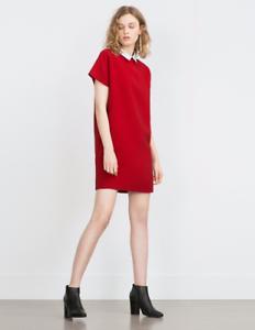 Zara Shirt Dress Small rot NWT Mod Dress Short Sleeves Weiß Collar