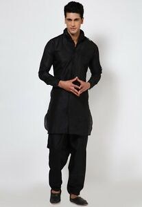4c179345c6 Men's Designer Black Traditional Kurta Pajama Indian Cotton Casual ...
