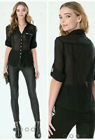 Bebe Fiorella Zip Pocket Shirt Size Xs Enchanting Blouse Detailed