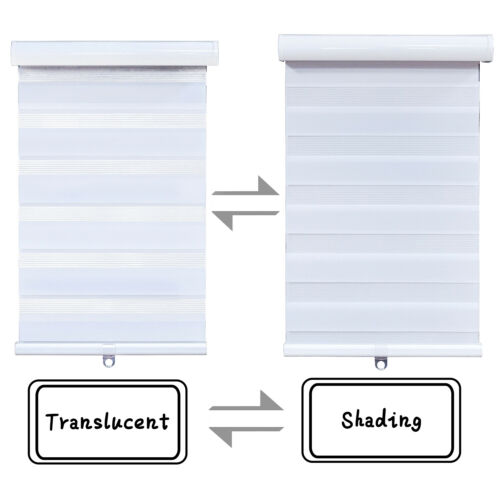 """Dual Layer Shades, 72"""" W White Cordless HTTMT- Zebra Roller Blinds 20"""" x H"""