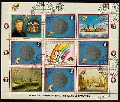 Barco Gestempelt Hell Und Durchscheinend Im Aussehen Humorvoll Kleinbogen Paraguay 1989 Minr 4343 Schiffe Ship