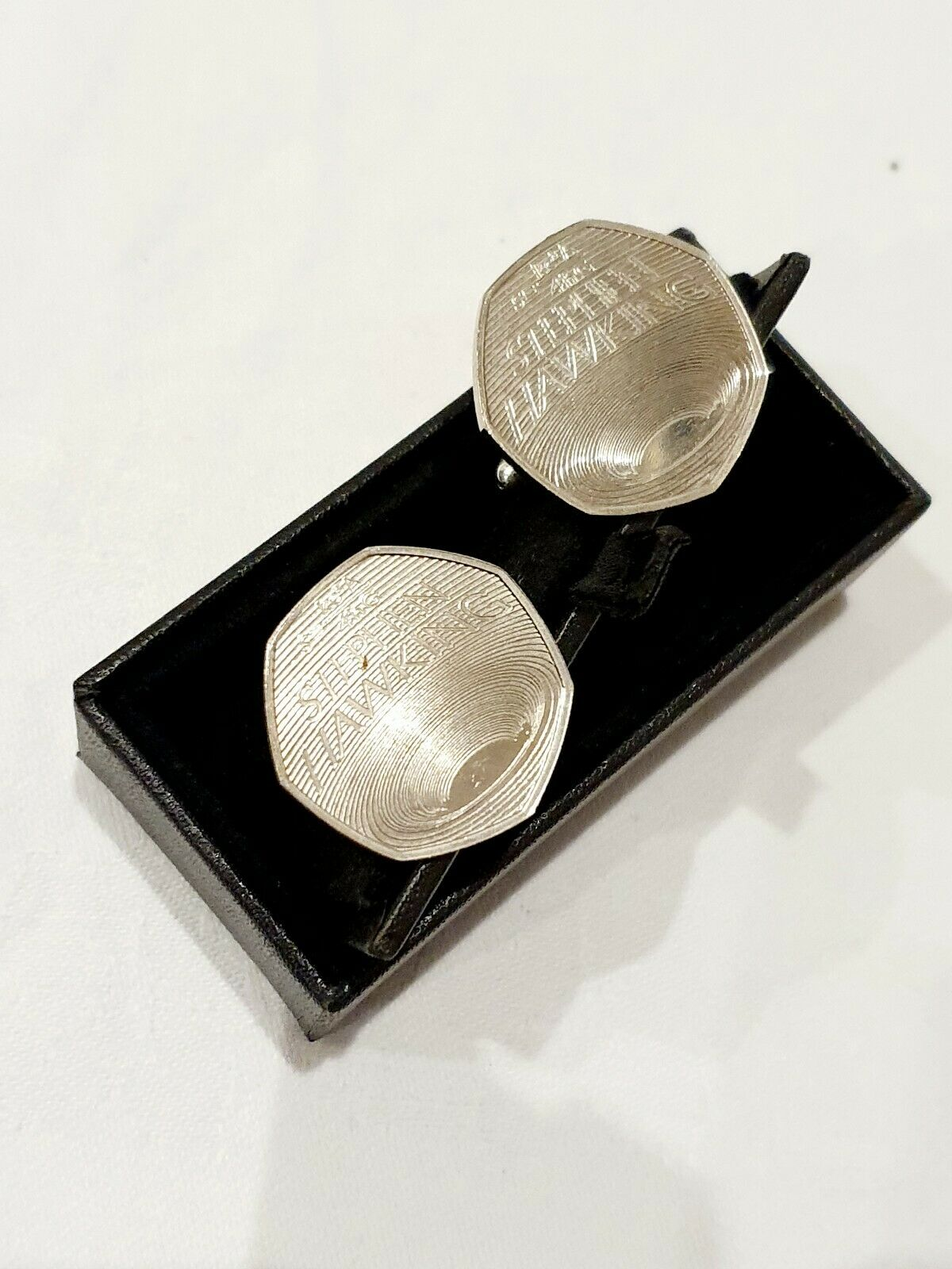 Stephen Hawkins Real 50p Cufflinks Boxed Very Rare Brand New RRP Royal Mint