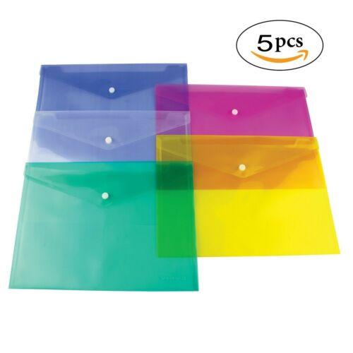 A4 Plastic wallets Stud Document Wallet Files Folders Filing School Office Lots