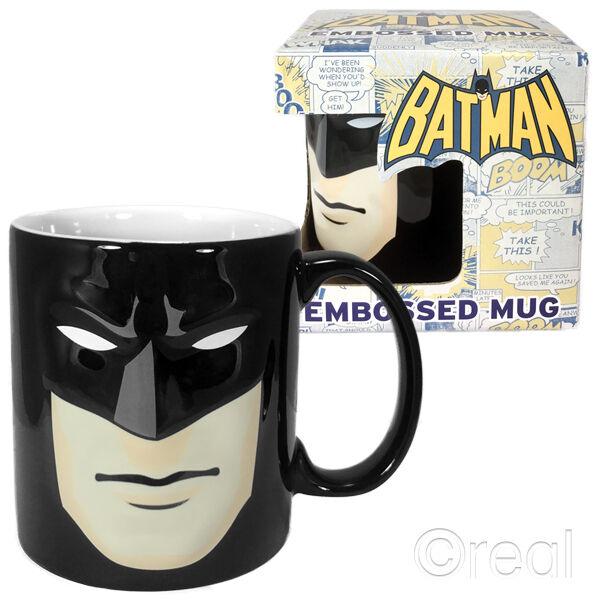New DC Comics Batman Black Embossed Face / Mask Mug Coffee Retro Cup Official