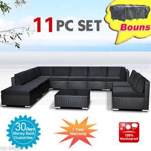 Wicker-Rattan-Garden-Set-Indoor-Outdoor-Sofa-Lounge-couch-Setting-Furniture-11Pc