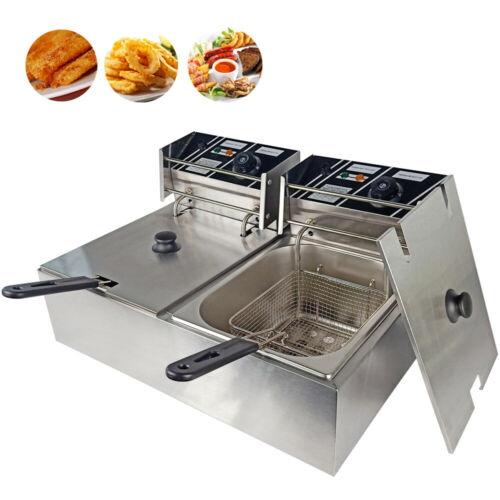 Commercial Electric Deep Fat Fryer Stainless Steel Mutifunctional Fried Pan 20L