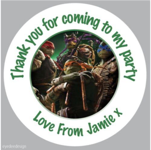 Personalised TMNT Teenage Ninja Turtles Stickers Birthday Party Thank You 348