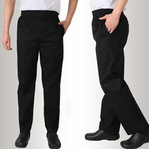 Details About Chef Work Pants Kitchen Baggy Trousers Restaurant Staff Black Uniform Slacks Hot