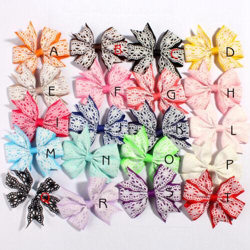 30PCS 8cm 20colors Lace Pattern Grosgrain Ribbon Flower Hair Bows No clips