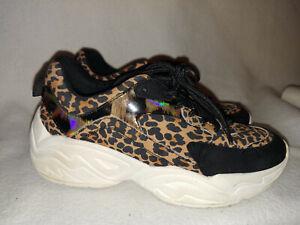 Women-Steve-Madden-Black-Brown-Shirli-Leopard-Animal-Print-Athletic-Shoe-Size-6