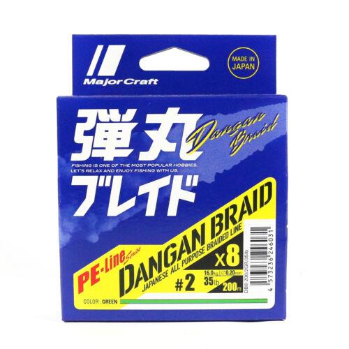 6031 Major Craft Dangan Braided Line X8 200m P.E 2 Green DB8-200//2GR//35lb