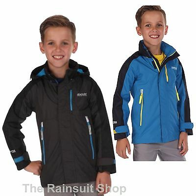 REGATTA BOYS FUSILIER WATERPROOF BREATHABLE RAIN COAT JACKET KIDS AGE 3-12YRS