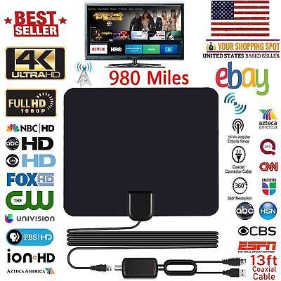 4K 1080P Free HD programs Digital HDTV Antenna UHF VHF FM 300 Miles 13FT Cable