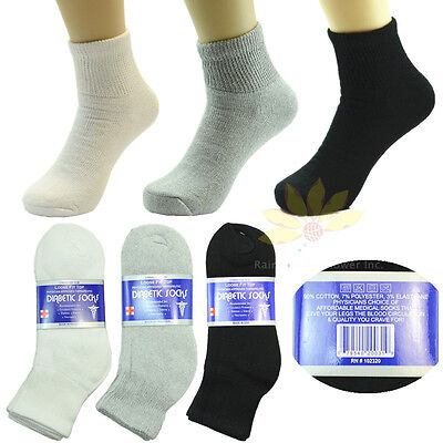 Mens 3,6 or12 Pairs Diabetic Ankle Quarter Circulatory Socks Cotton Size 9-15