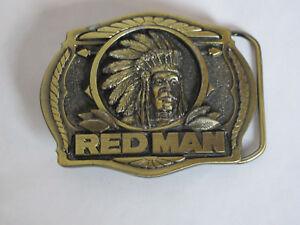 1988-Red-Man-Belt-Buckle-Brass-Cowboy-American-Tobacco