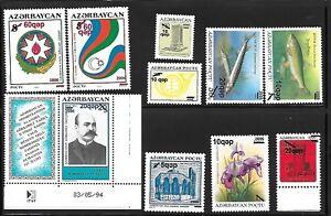 AZERBAIJAN-Sc-808-17-NH-ISSUE-of-2006-OVERPRINTS-Animals-Fish-Flowers